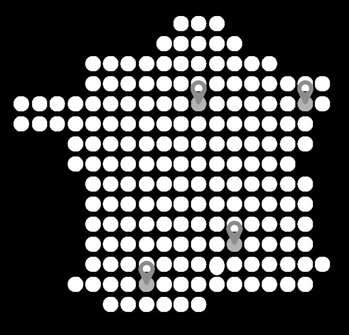Carte de france avec les églises de RNC